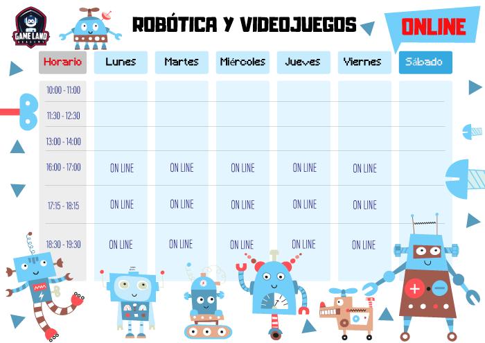 Planificación semanal de programación en robótica y videojuegos en modalidad online